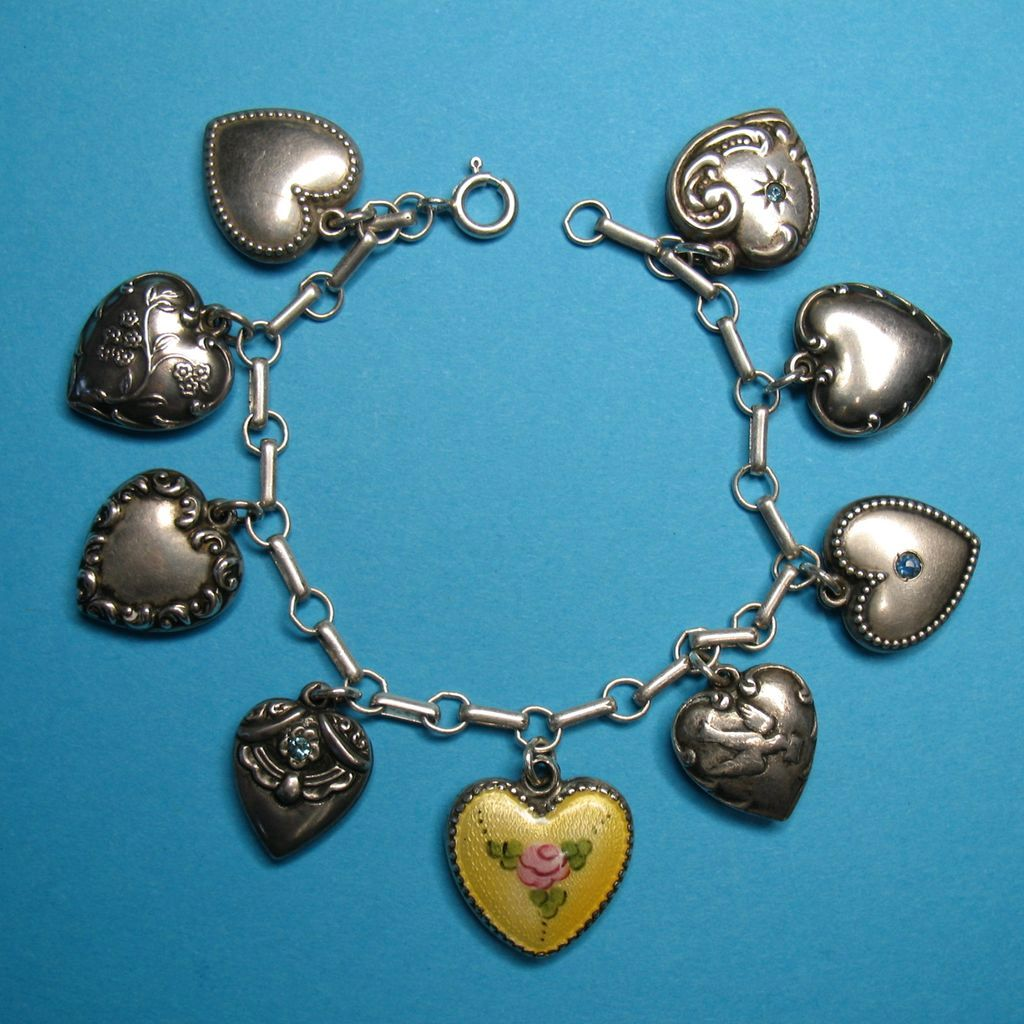 Victorian Sterling Silver Puffy Heart Charm Bracelet