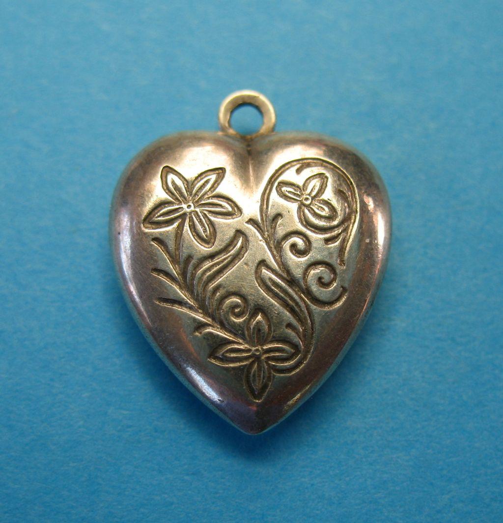 Vintage Sterling Ladye Fayre Puffy Heart Charm 1930's - 1960's