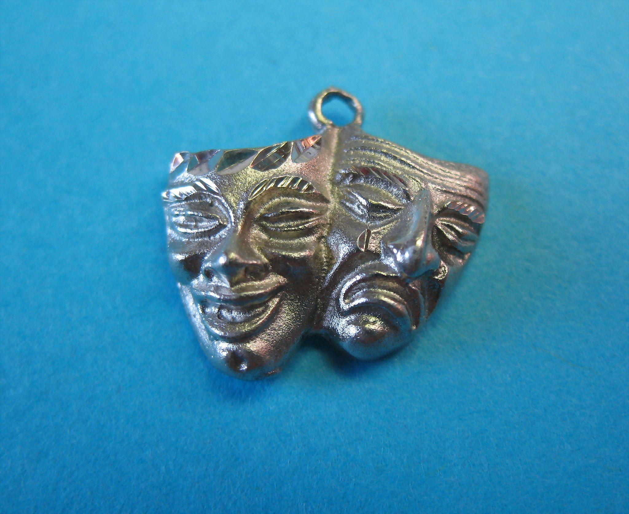 Vintage Silver European Drama Mask Charm