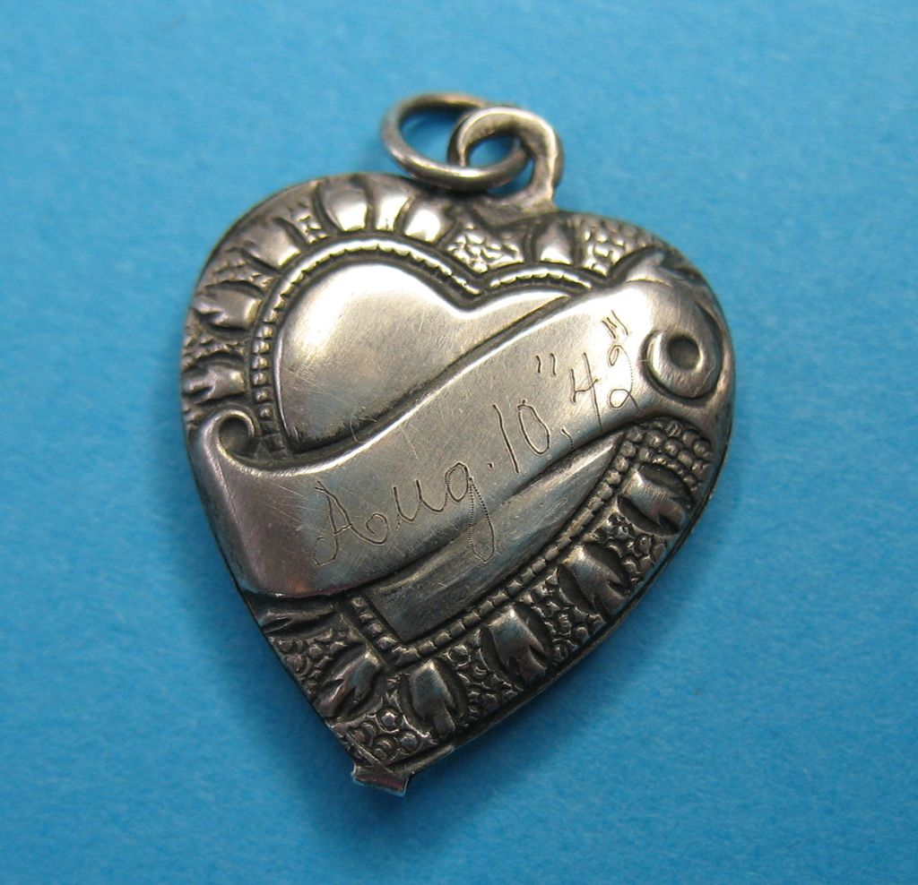 Vintage Sterling Puffy Heart Charm - 1942