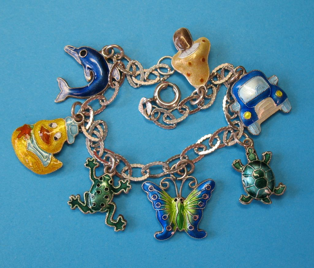 Vintage European Silver Puffy Enameled Charm Bracelet