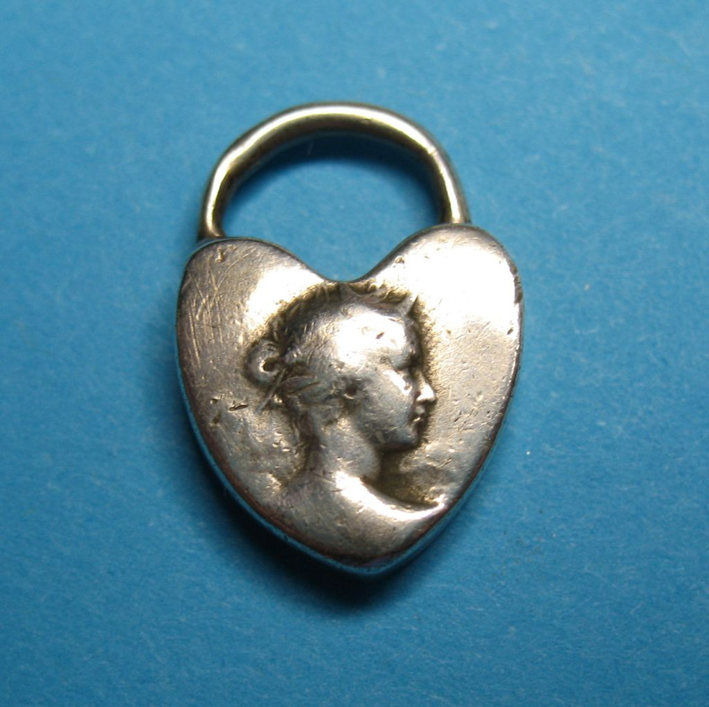 Victorian Sterling Silver Padlock Charm c1890