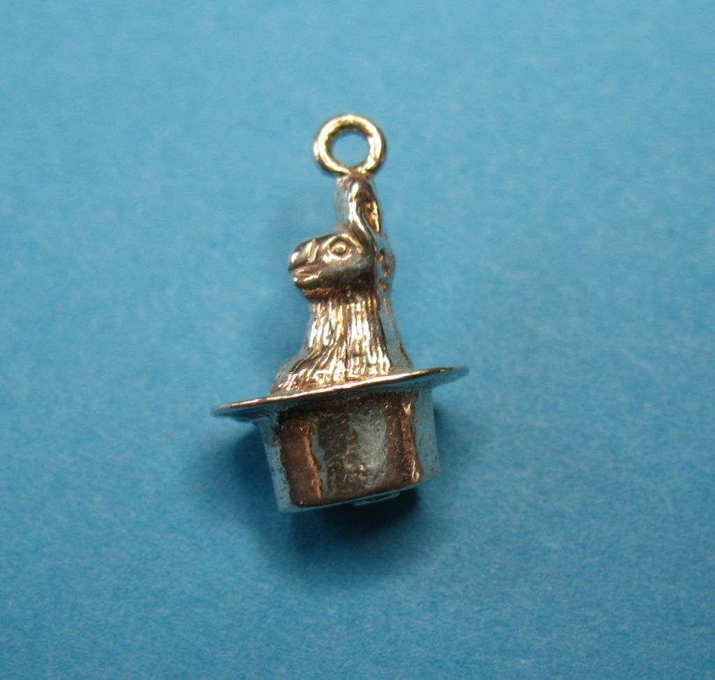 Vintage Sterling Silver Bunny In A Hat Charm