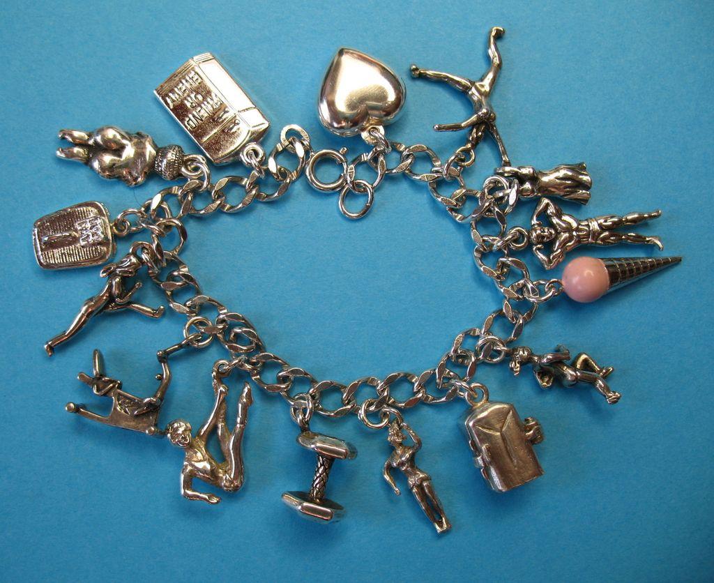 Vintage Sterling Exercise - Dieting Themed Charm Bracelet