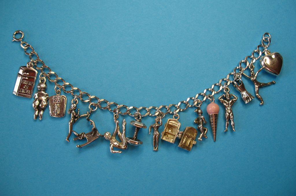 Vintage Sterling Exercise Dieting Themed Charm Bracelet