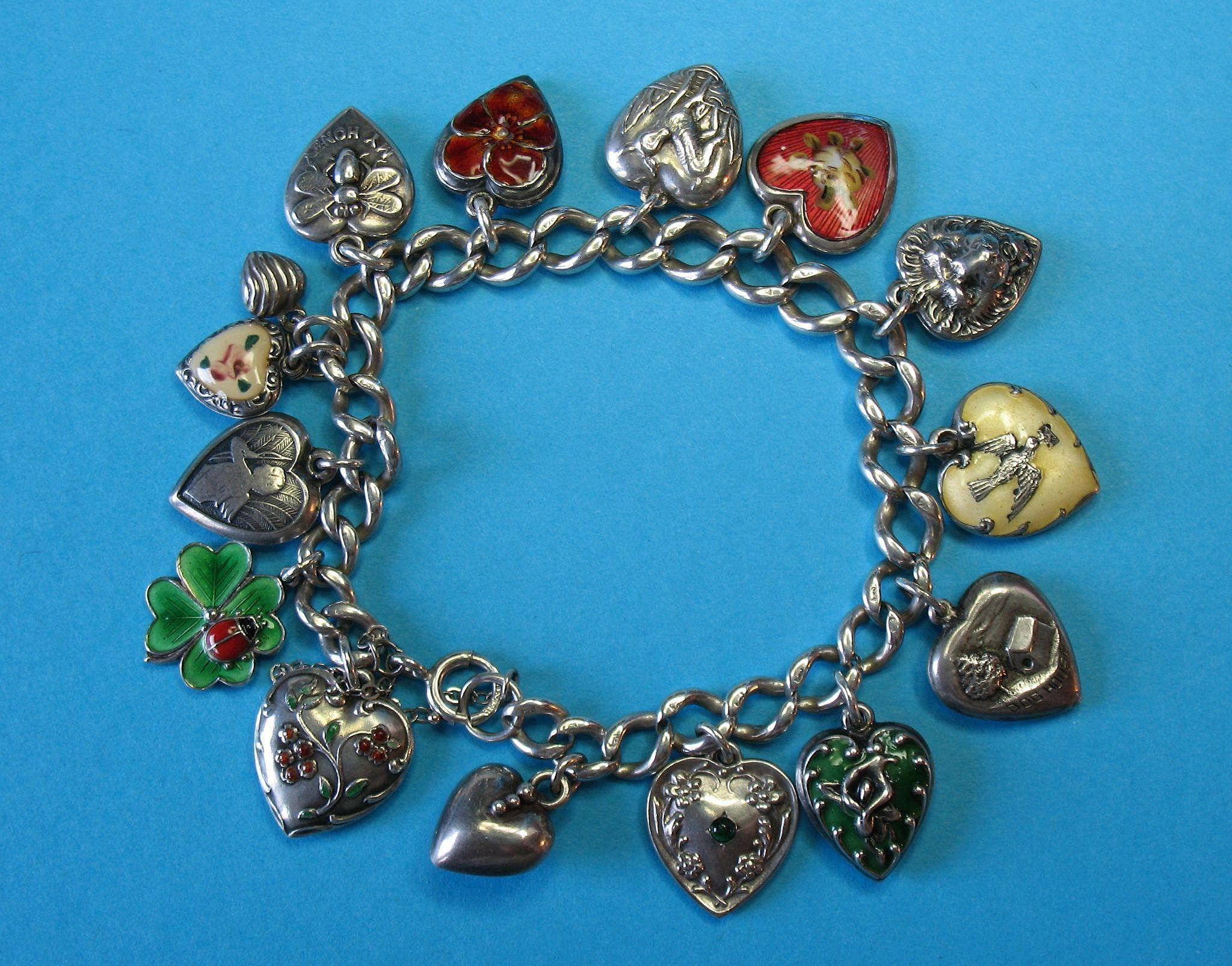 Vintage Sterling Silver Puffy Heart Charm Bracelet Rare Charms Just 4 S Ruby Lane