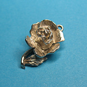 Vintage Sterling Silver Rose Charm Opens to Bee Inside