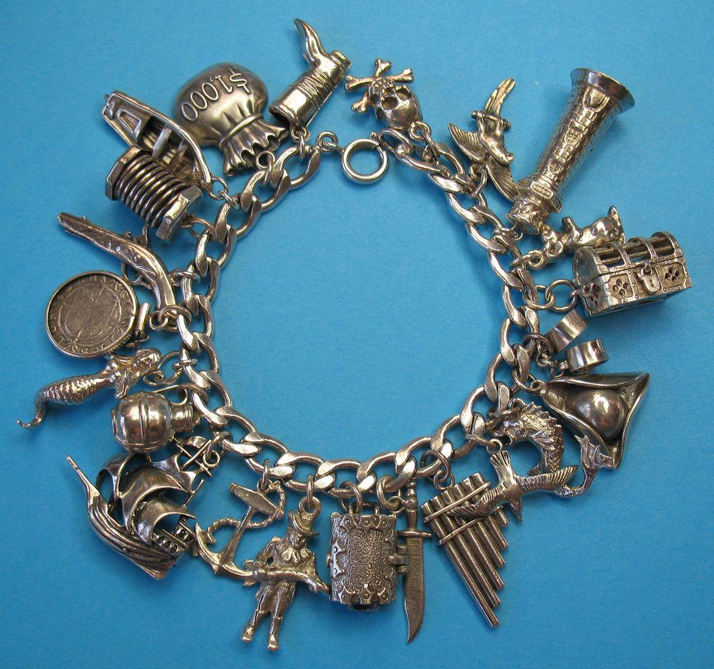Vintage Sterling Silver Pirate Charm Bracelet - Rare Charms