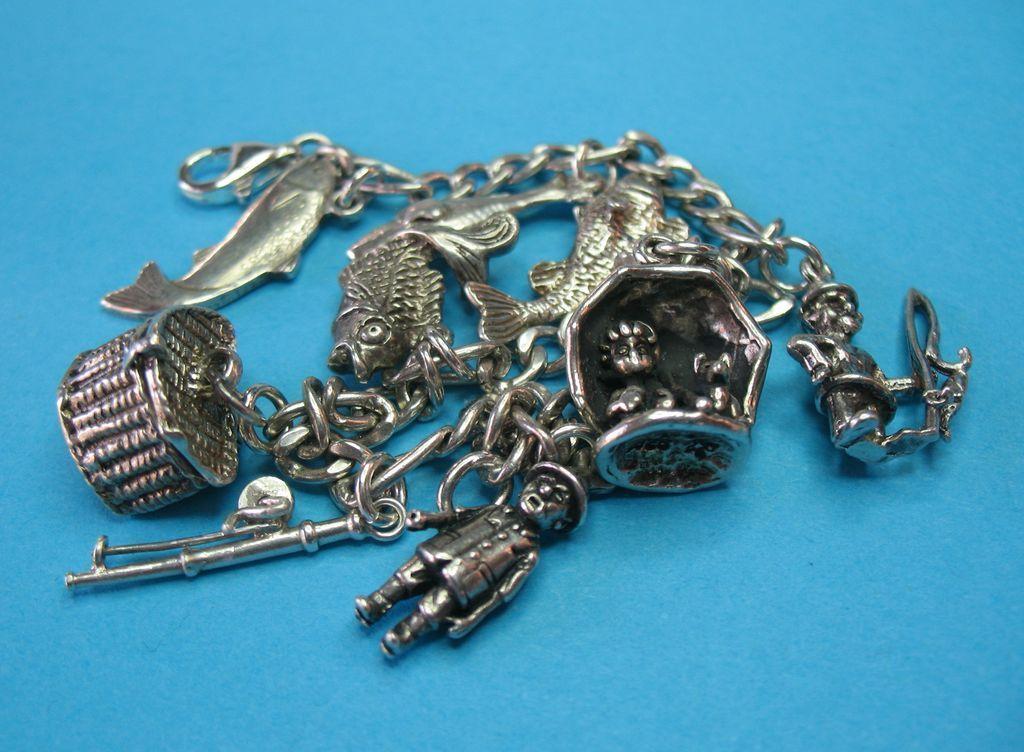 Vintage Sterling Silver Fishing Charm Bracelet