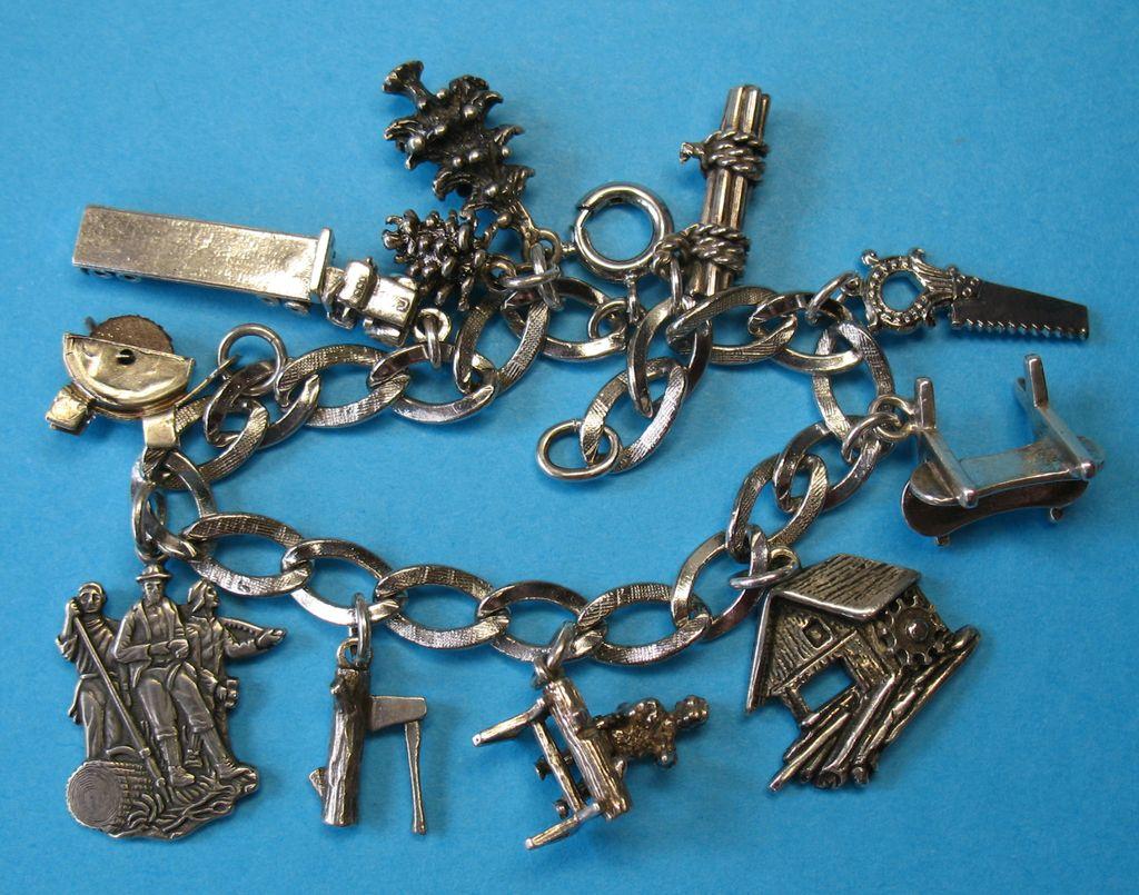 RARE Vintage Sterling Silver Lumberman's Theme Charm Bracelet