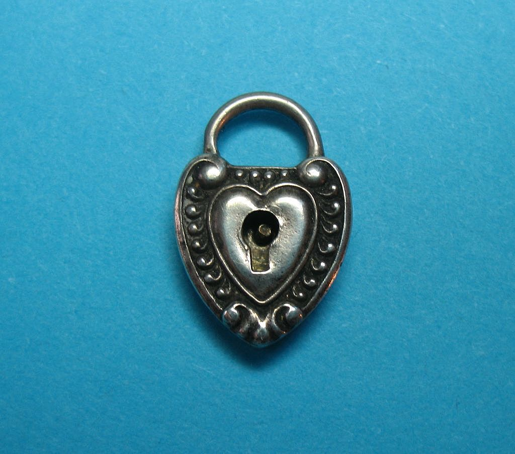 Victorian Sterling Silver Heart Repousse Padlock Charm - Inscribed