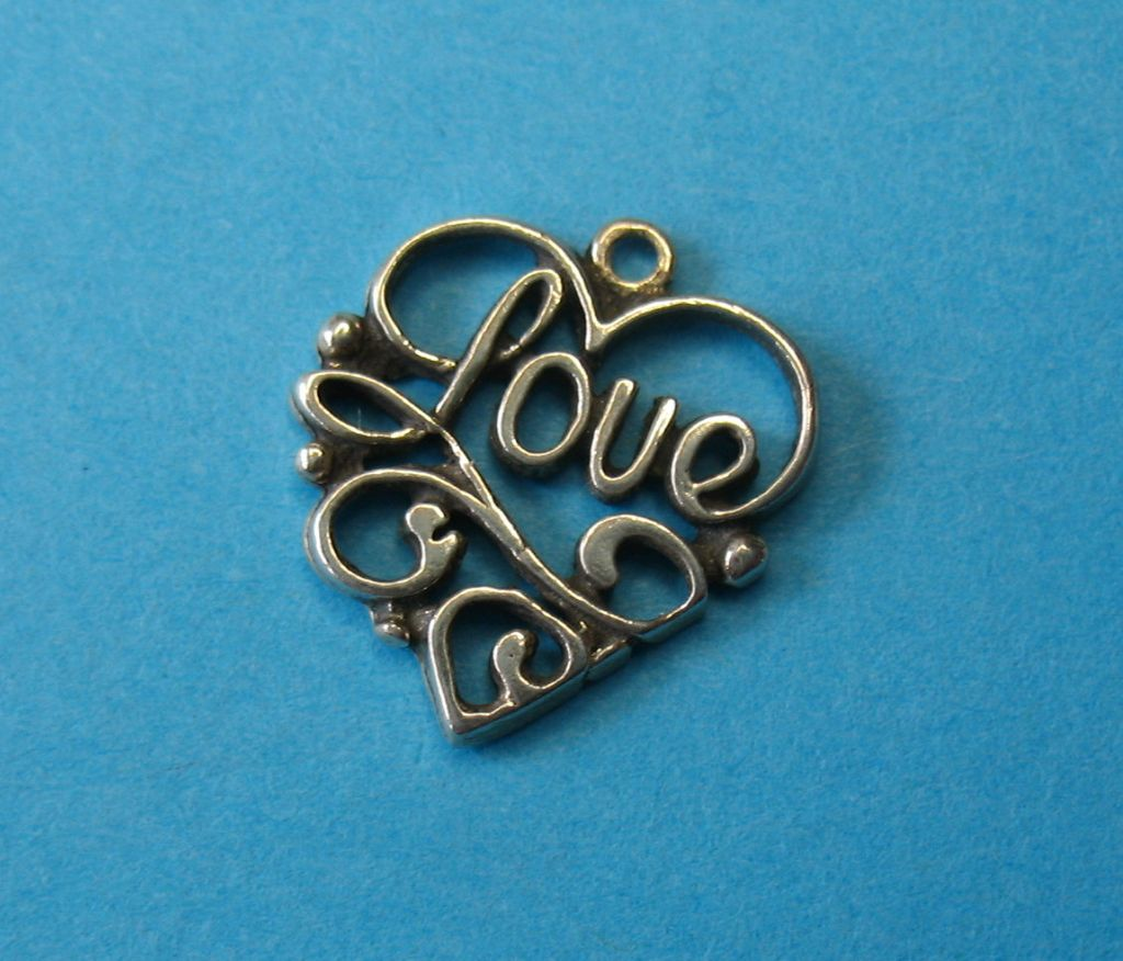 "Vintage Sterling Silver ""Love"" Heart Charm"