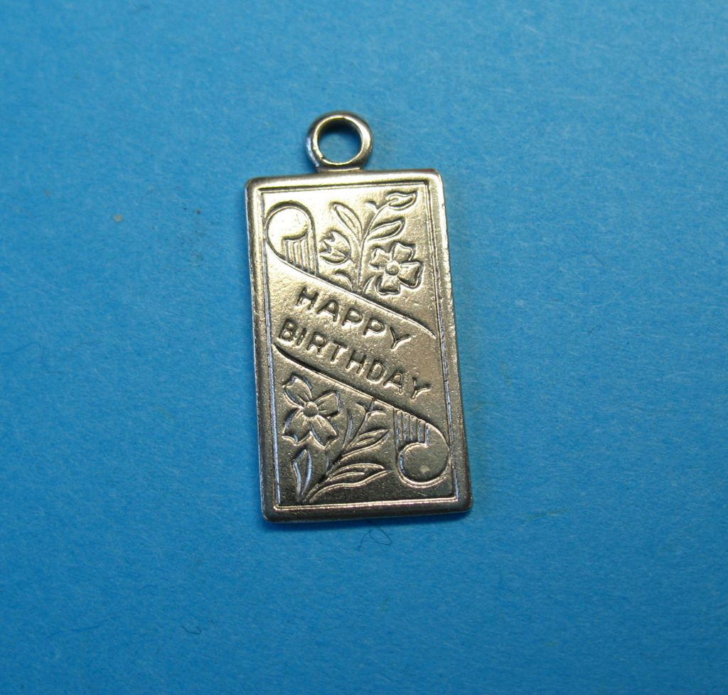 "Vintage Sterling Silver Wells "" Happy Birthday""  Charm"