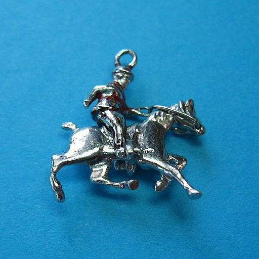 Vintage Sterling Silver Enamel Equestrian Horse Rider & Horse Charm