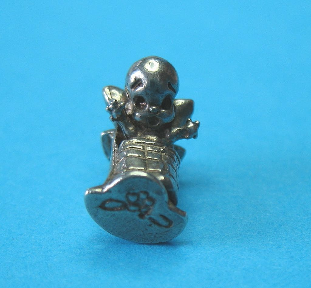 Vintage European Silver Baby Kewpie In Rocking Cradle Charm