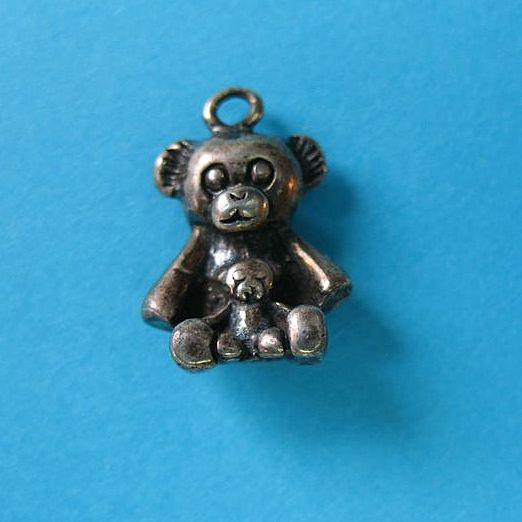 Vintage Sterling Silver Teddy Bear Charm - Mother & Baby - Cute & Rare