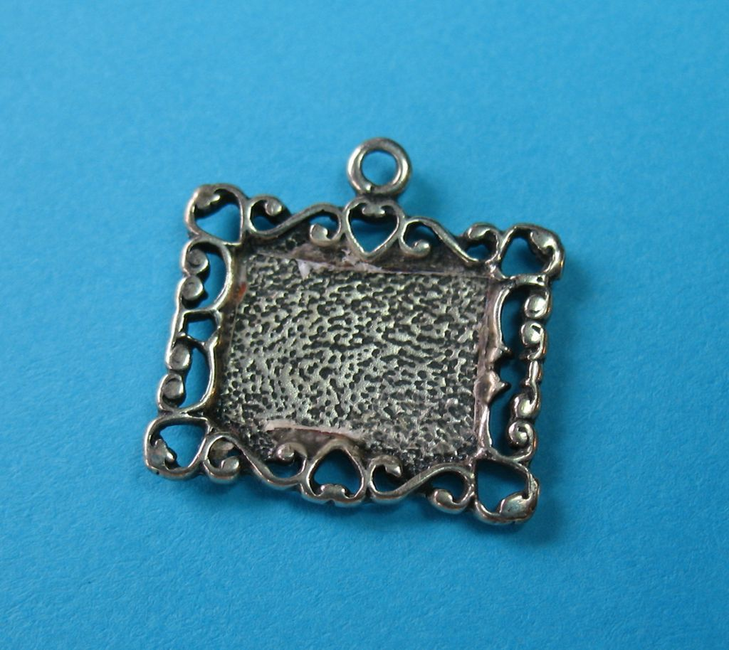 Vintage Sterling Heart Framed Picture Frame Charm