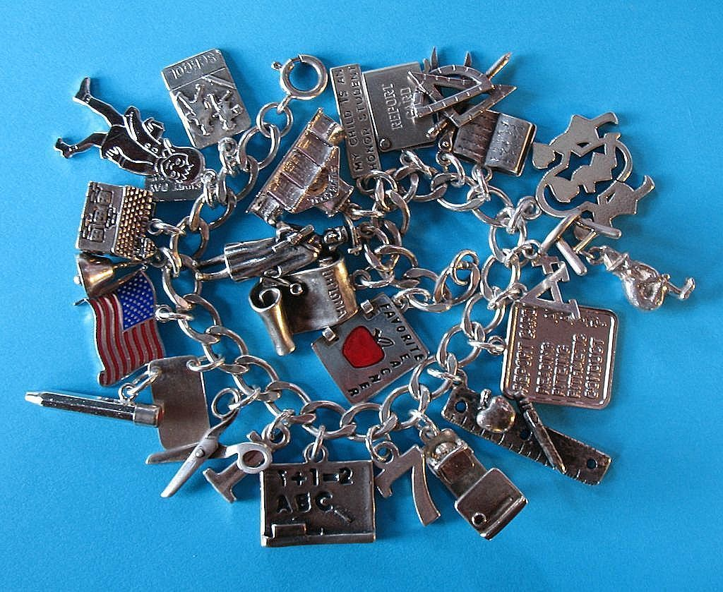 Vintage Sterling Silver School Themed Charm Bracelet - Rare Charms