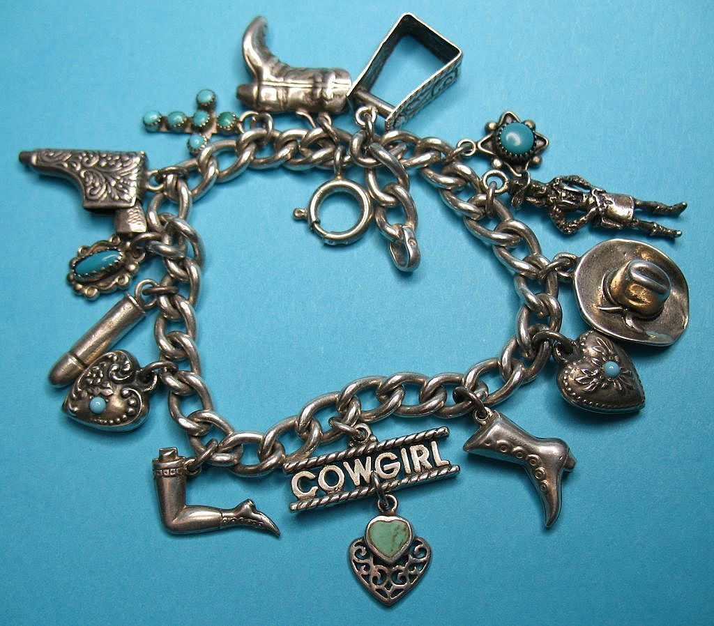 Vintage Sterling 1940s Western Cowgirl Charm Bracelet