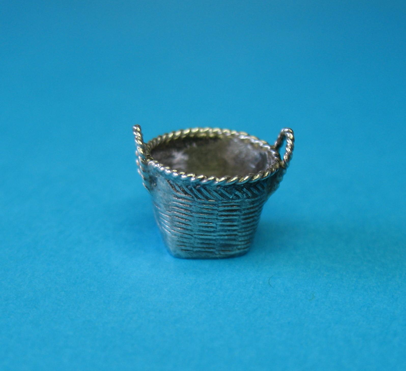 Vintage Silver European Laundry Basket Charm Rare