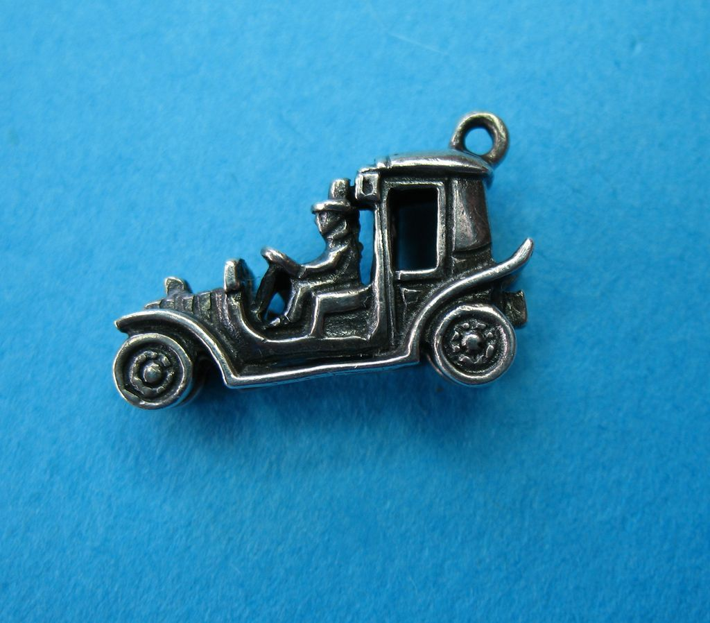 Vintage Sterling Silver Car Charm With Chauffeur