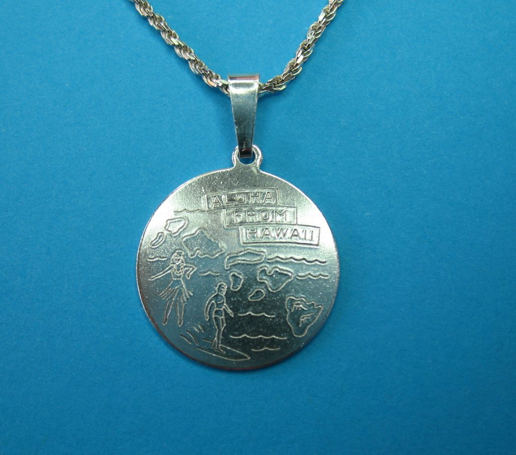 Sterling Hand Engraved Hawaiian Charm Pendant Necklace