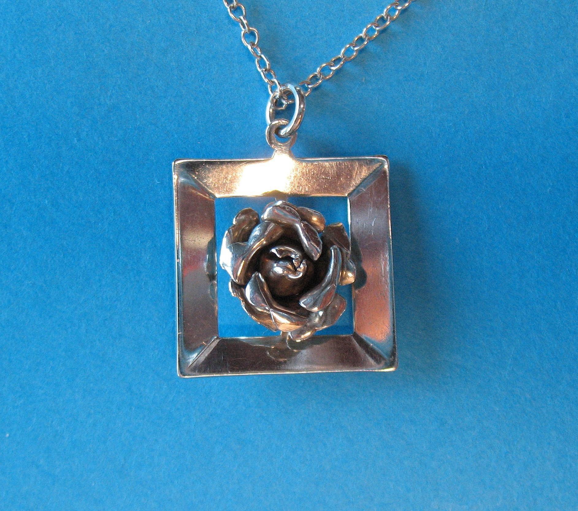 Vintage European Sterling Square Frame Rose Flower Necklace Charm Pendant