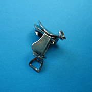 Vintage Sterling Silver Articulated English Riding Saddle Charm