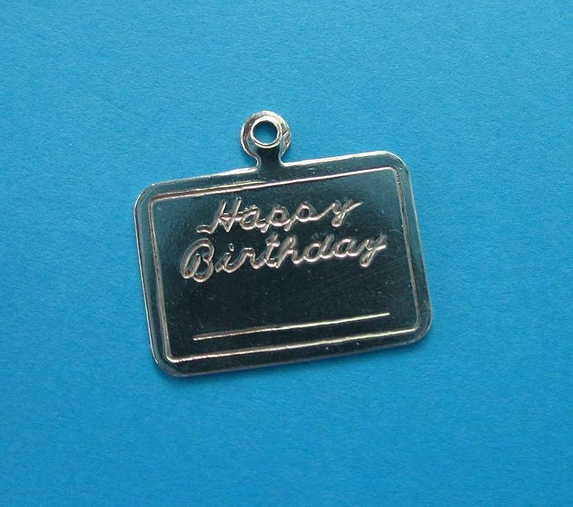 "Vintage Sterling ""HAPPY BIRTHDAY"" Gift Card Charm"