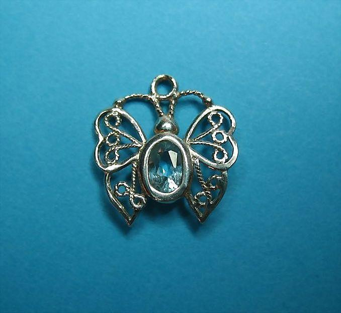 Vintage Sterling Blue Crystal Butterfly Charm