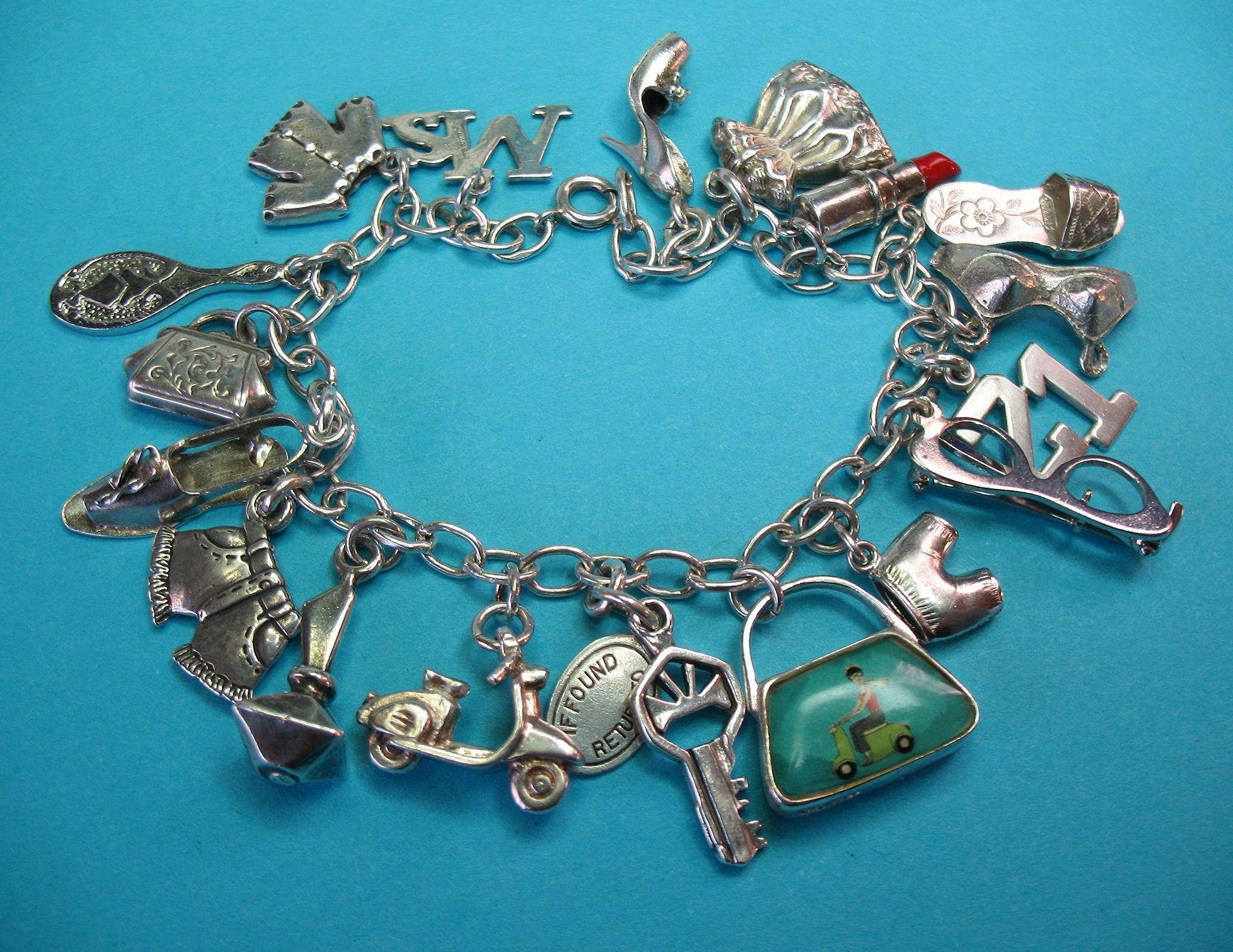 Vintage Sterling Ms. Themed Charm Bracelet For Age 21