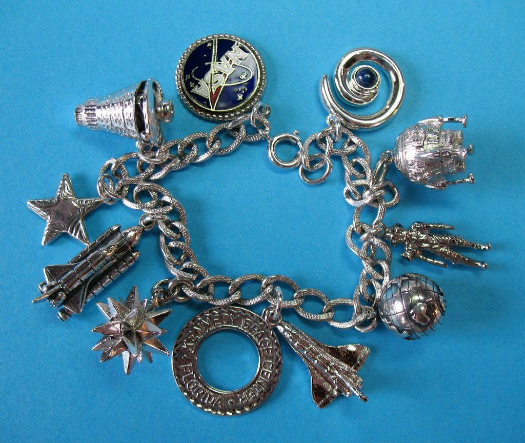 Vintage Sterling Nasa Space Theme Charm Bracelet