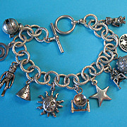 Vintage Sterling Outer Space Astronaut Theme - Opening Moon - ET Charm Bracelet
