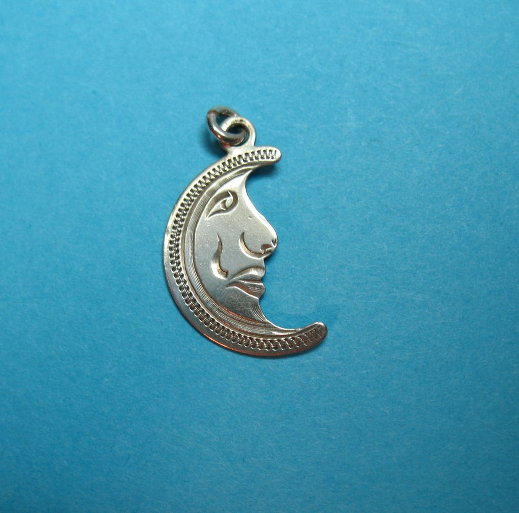 Vintage Sterling Handmade Moon Face Charm
