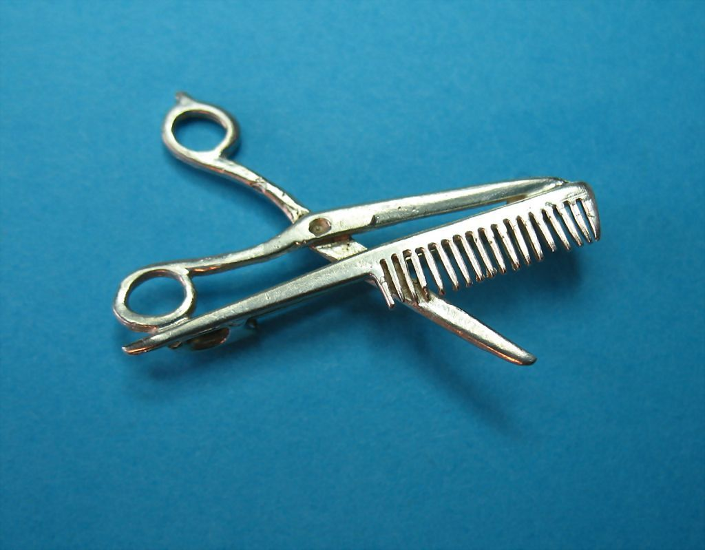Vintage Sterling Silver Hair Stylist Scissors & Rat-tail Comb Brooch Pin