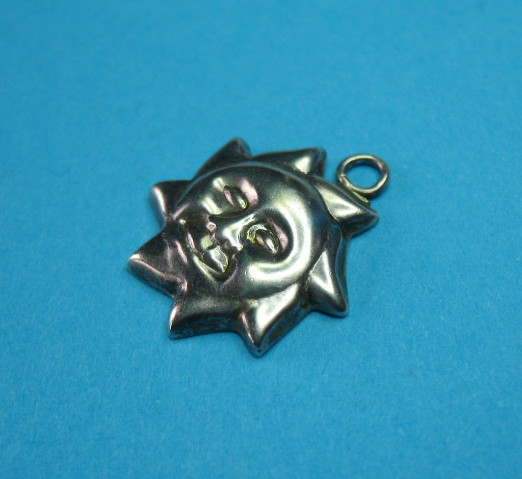 Vintage Sterling Silver Puffy Face Sun Charm
