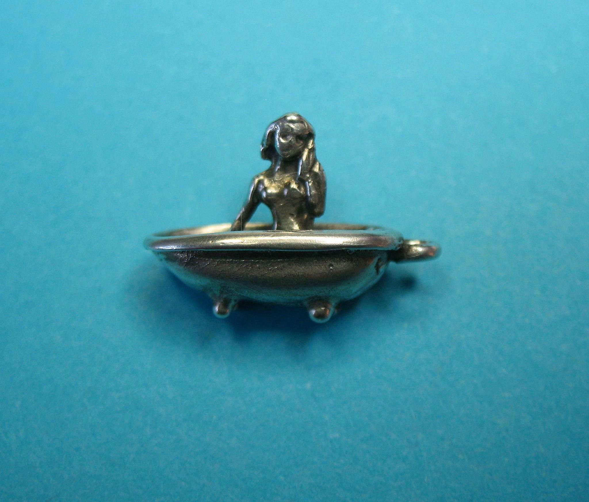 Sterling Silver Bathtub Charm With Modest Women