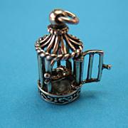 Vintage KBN Kabana Bird Cage Birdcage Charm- Sterling & 14K Gold