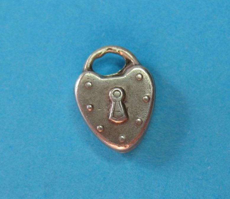 RARE Vintage French 1890s Sterling Puffy Heart Padlock Charm