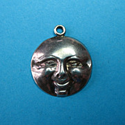 Rare Vintage Repousse Sterling Signed Smiling Moon Face Charm