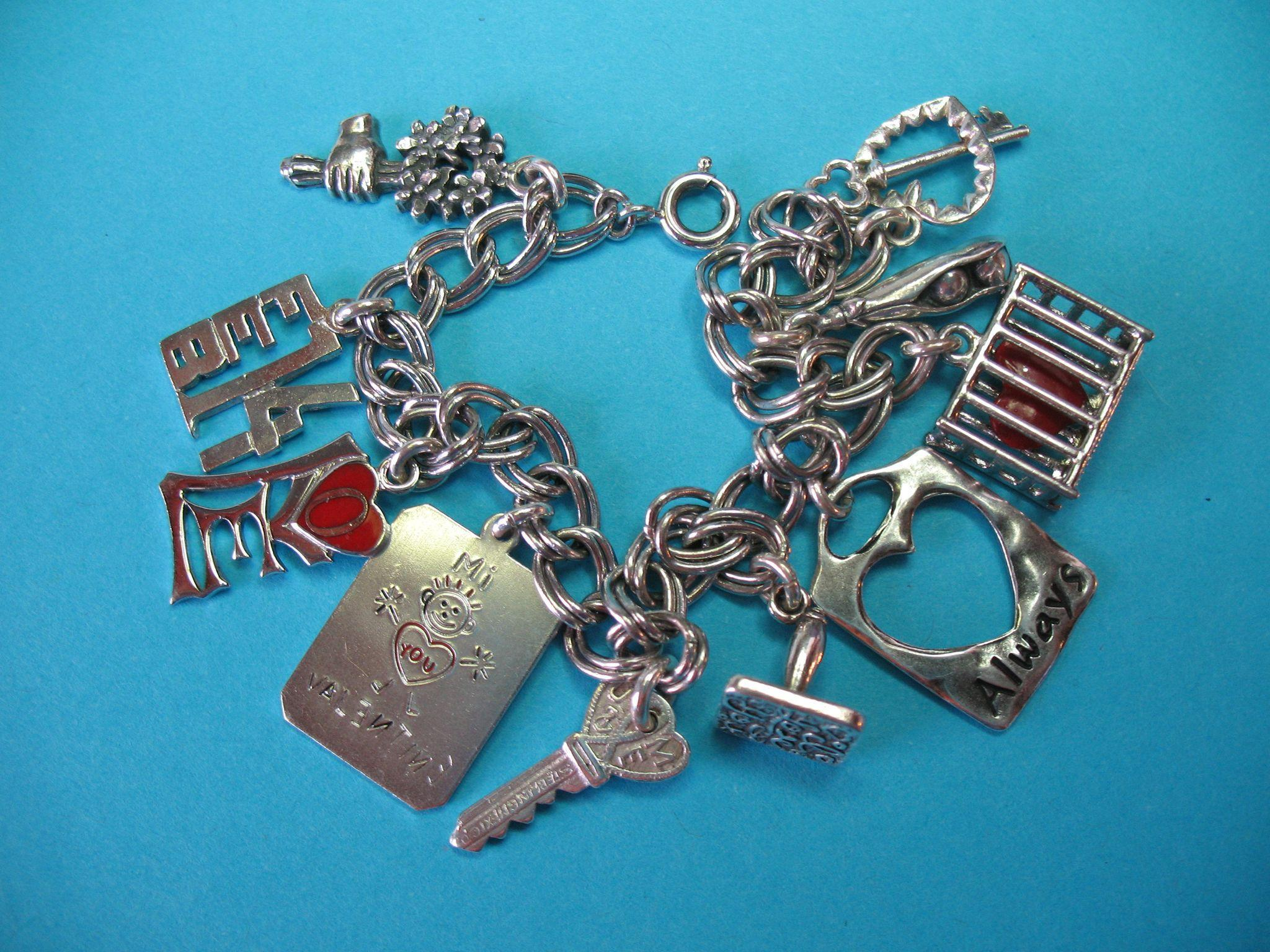Vintage Sterling Silver Valentine's Charm Bracelet