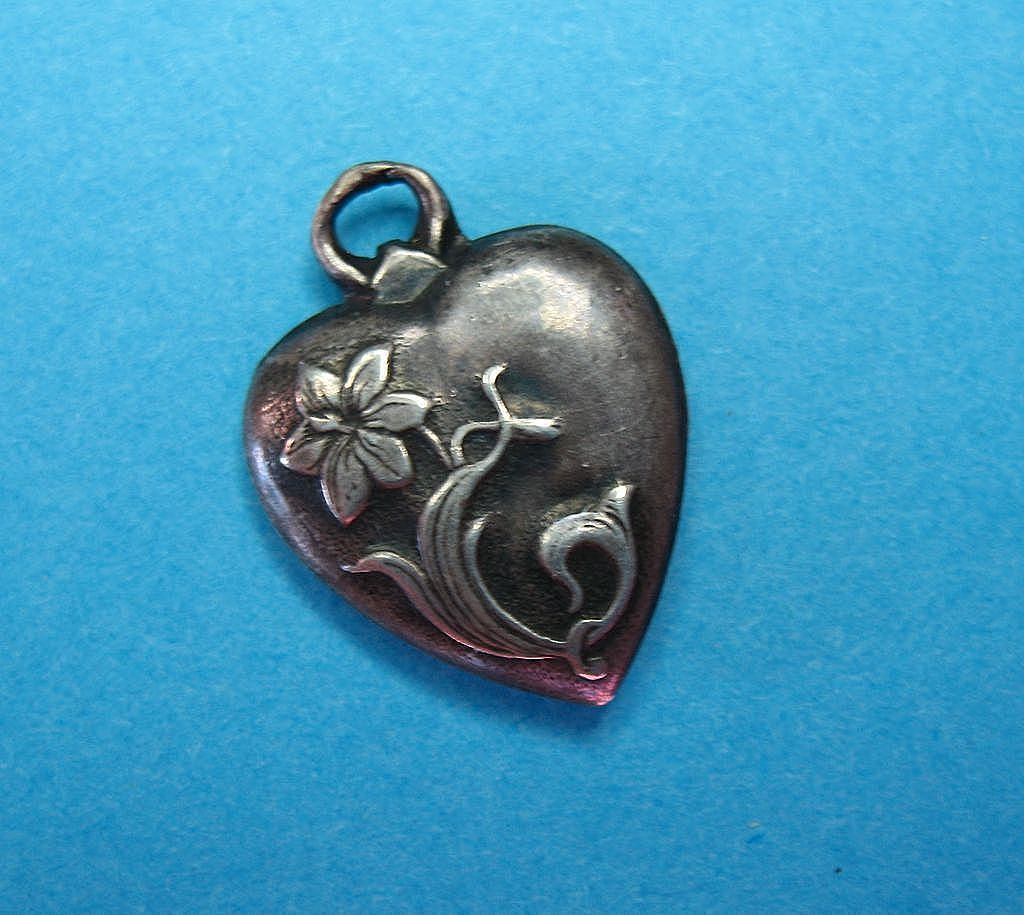 RARE c1900s Vintage Victorian Floral Lily Orchid  Puffy Heart Charm