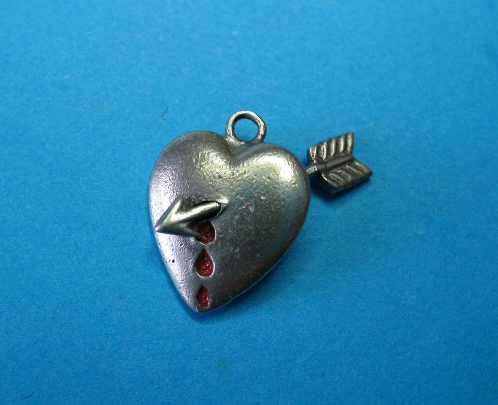 Vintage 1950s Sterling Silver Enamel Pierced Heart Charm & Moving Arrow