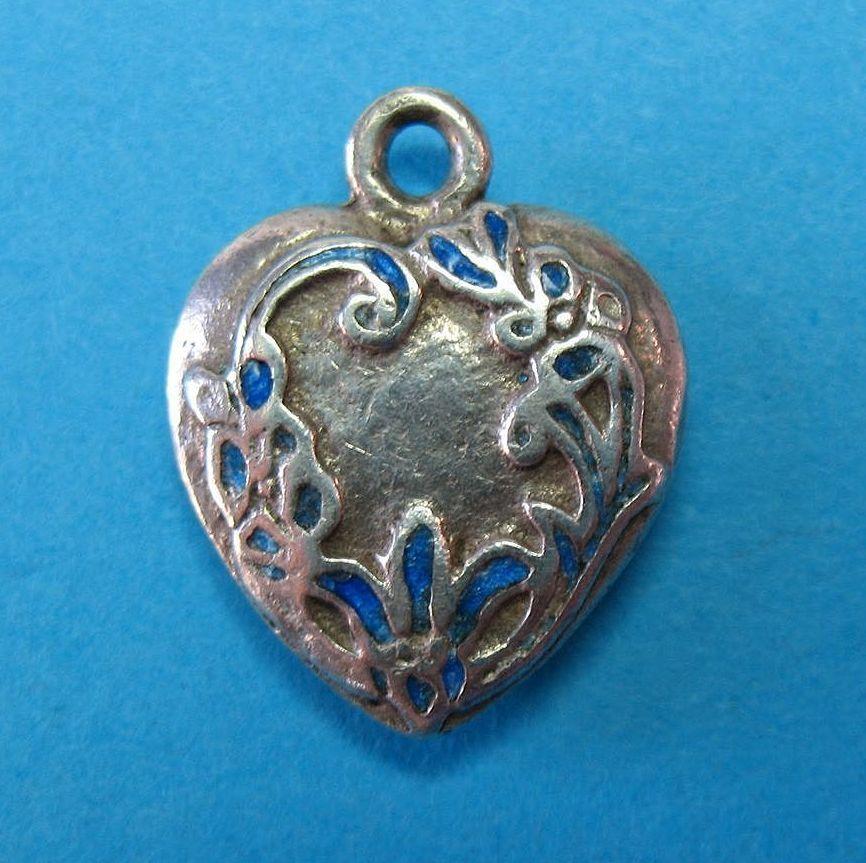 Victorian Solid Sterling Silver Enamel French Fleur de Lis Heart Charm c1920