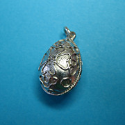 Vintage Silver Tone Metal Easter Egg Necklace Charm Pendant