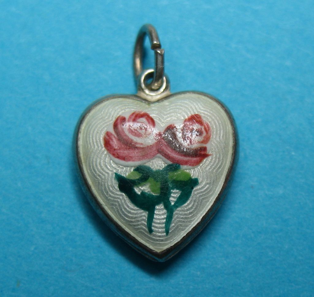Vintage German Silver Guilloche Enamel Rose Heart Charm