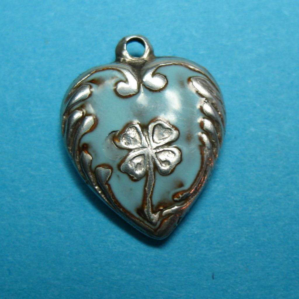Vintage Sterling Enamel Shamrock Puffy Heart Charm