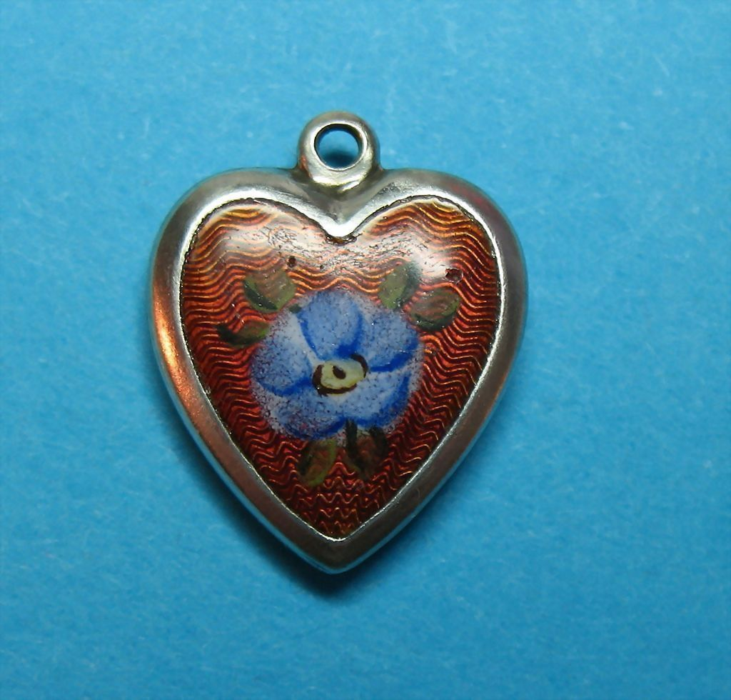 RARE Blue Forget Me Not Flower Guilloche Puffy Heart Charm