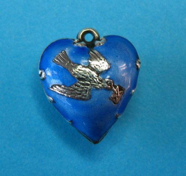 Victorian Sterling Silver Enamel Puffy Heart Charm - Rare