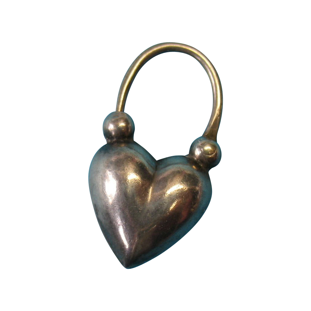Victorian c1885 Sterling Silver English Puffy Heart Padlock Charm - RARE
